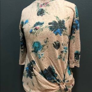 Pink Floral Knot Front Blouse